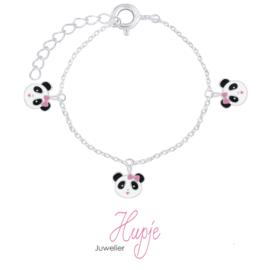 zilveren armband met drie panda bedels roze