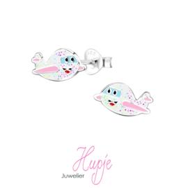 zilveren kinderoorbellen vliegtuigje roze glitter