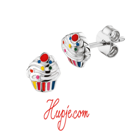 zilveren kinderoorbellen cupcake