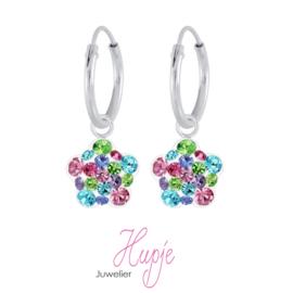 zilveren kinderoorbellen bloem regenboog kristallen