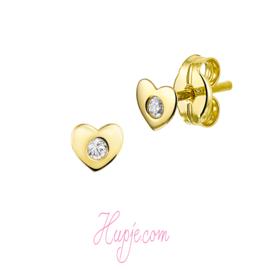 14 karaat gouden kinderoorbellen hart + Zirkonia