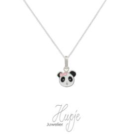 zilveren kinderketting panda roze strikje Premium