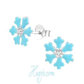 Silberne Kinderohrringe Frozen magisches Blau