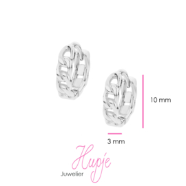 zilveren oorbellen creolen met roze Zirkonia hartjes