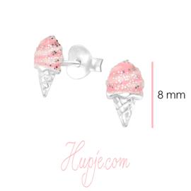 zilveren oorbellen ijsje roze met glitter