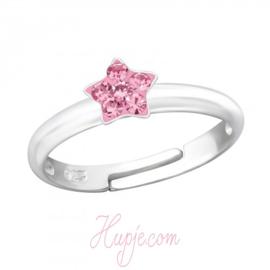 Silberner Kinderring Stern rosa Kristalle