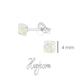 zilveren kinderoorbellen White Opal Swarovski®