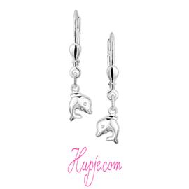 zilveren oorbellen dolfijn brisure sluiting