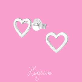 zilveren oorknopjes hart open