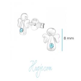zilveren oorbellen engel blauwe kristallen