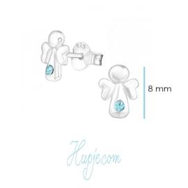 Silberne Ohrringe Engel blaue Kristalle