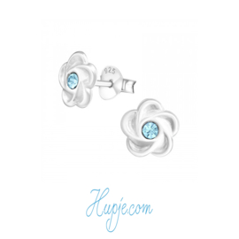 Silberne Ohrringe Blüte blauer Kristall