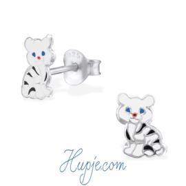 zilveren kinderoorbellen kat streepjes