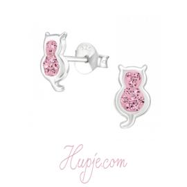 zilveren oorbellen kat roze kristallen