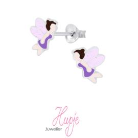 zilveren oorbellen elfje paars glitter vleugels