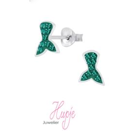 zilveren kinderoorbellen zeemeermin staart groene kristallen