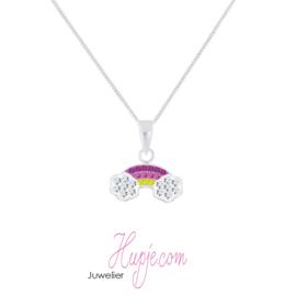 zilveren kinderketting rainbow crystals