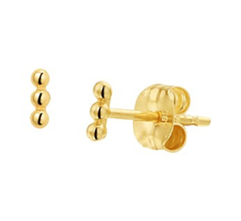 14 karaat gouden oorknopjes 3 bolletjes