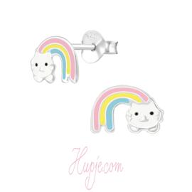 zilveren kinderoorbellen regenboog en kat
