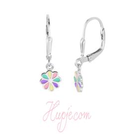 zilveren kinderoorbellen bloem pastelkleuren brisure sluiting
