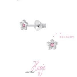 zilveren kinderoorknopjes bloem roze kristal