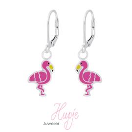 zilveren kinderoorbellen flamingo hanger brisure sluiting