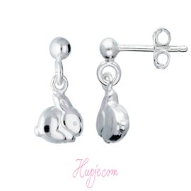 zilveren kinderoorbellen konijn hanger