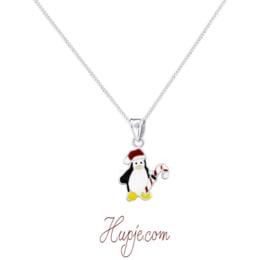 zilveren kinderketting pinguin kerst