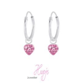 zilveren creolen klein hartje roze kristallen