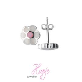 zilveren oorknopjes bloem roze wit