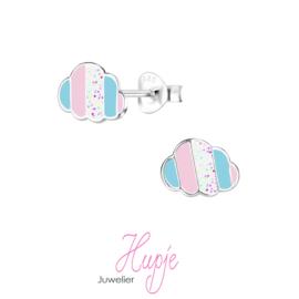 zilveren kinderoorbellen wolkjes roze blauw glitter
