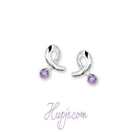 Silberne Kinderohrringe Sparkle Silber + violetter Zirkonia