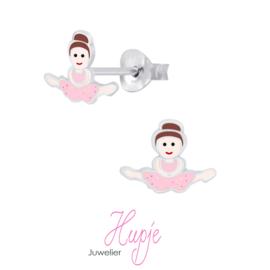 zilveren kinderoorbellen dansmeisje split roze glitter pakje