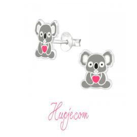 zilveren kinderoorbellen koala met roze hartje