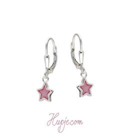 zilveren kinderoorbellen roze ster
