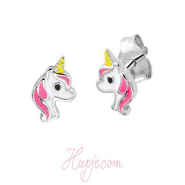 zilveren kinderoorbellen eenhoorn roze en wit