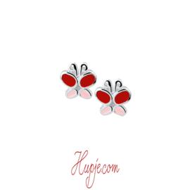 Silberne Kinderohrringe Schmetterling rot