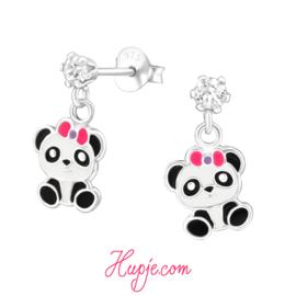 Kinderoorbellen panda roze strikje + kristal