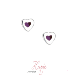 zilveren oorbellen hart paars