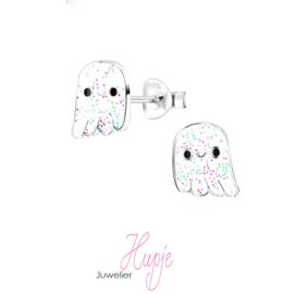 zilveren kinderoorbellen glitter spookje