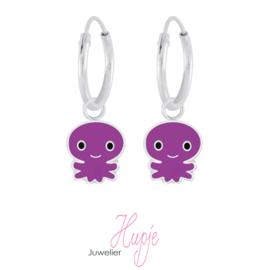 zilveren kinderoorbellen octopus paars