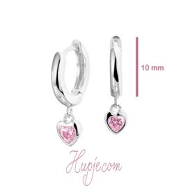 Silberne Ohrringe Kreolen mit rosa Zirkonia Herzen