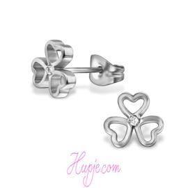 Ohrringe 3 Herzen + Kristall