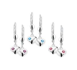 Silberne Kinderohrringe Herzen Hänger + Brilliant