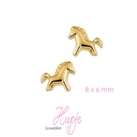 14 karaat gouden oorknopjes paard