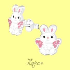 zilveren kinderoorbellen konijn roze glitter vleugels