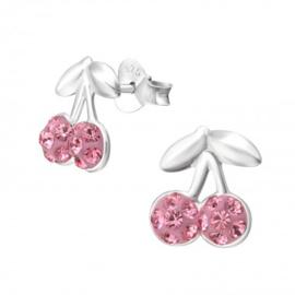 zilveren kinderoorbellen kers roze kristallen