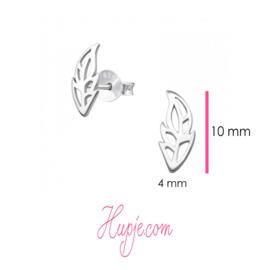 zilveren oorbellen blad fantasie