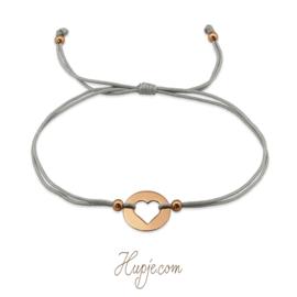 armband met zilveren hartje rosegouden plating