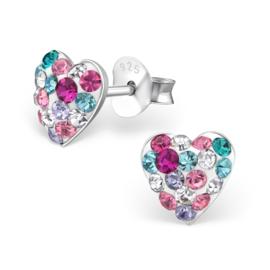 zilveren oorbellen Swarovski®  hearts 'Joy'